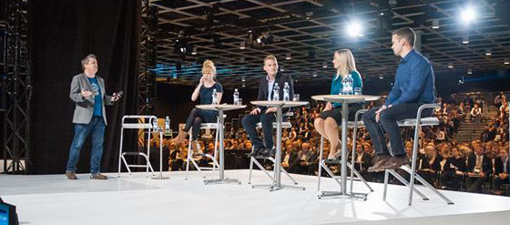 NBF14, Hot Seat Session: professori Alf Rehn haastoi nuoria menestyjiä: Linda Liukasta, William Wolframia, Anna Nyboea ja Vladimir Funtikovia.