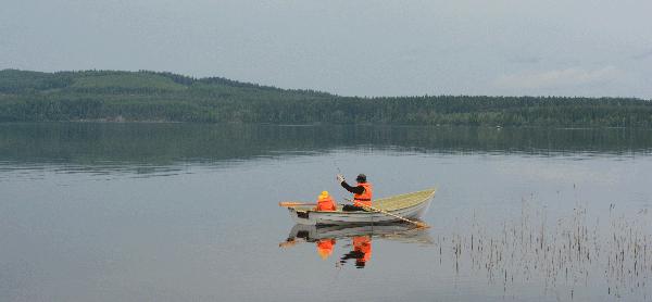 Sininen hetki järvellä.